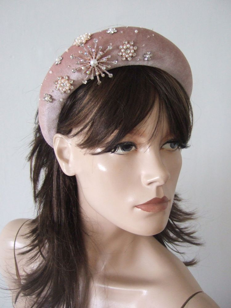 Rose Pink Velvet Thick Padded Wide Snowflake Rose Gold Crystal Embellished Bridesmaids Headband
